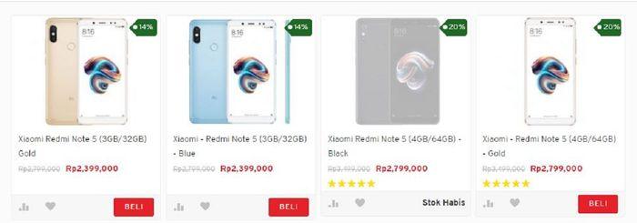 Harga Redmi Note 5 di Erafone