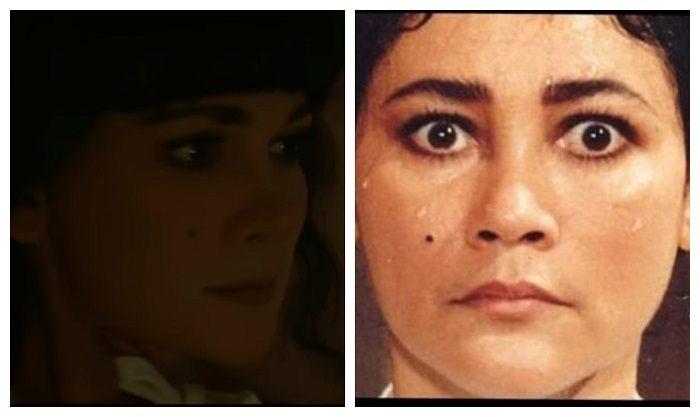 Perbandingan wajah Luna Maya (kiri) dan Suzzanna (kanan) ( Kolase/Nakita.id)