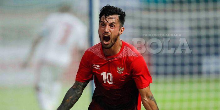 Selebrasi gelandang timnas U-23 Indonesia, Stefano Lilipaly, seusai mencetak gol dalam pertandingan