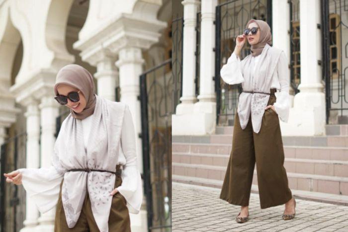 Paduan hijab square ala Laudya Cynthia Bella