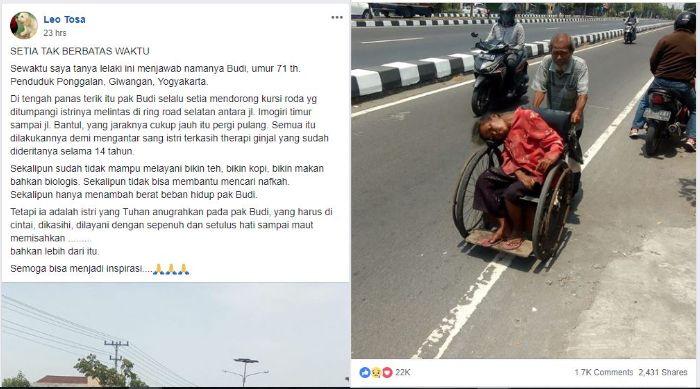 Kisah Kakek Asal Yogyakarta Setia Dorong Kursi Roda Istrinya untuk Terapi Ginjal
