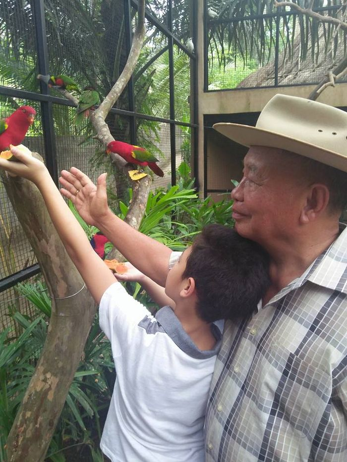 Keanu Massaid jalan-jalan bersama kakeknya.
