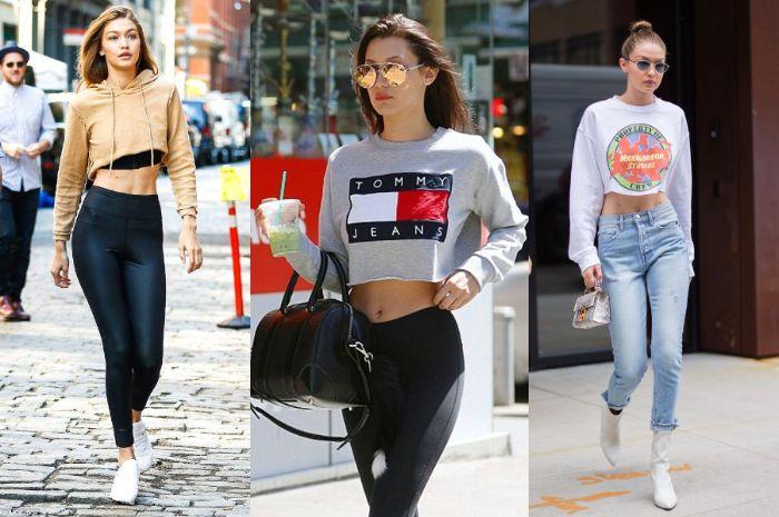 Supermodel bergaya dengan cropped sweatshirt