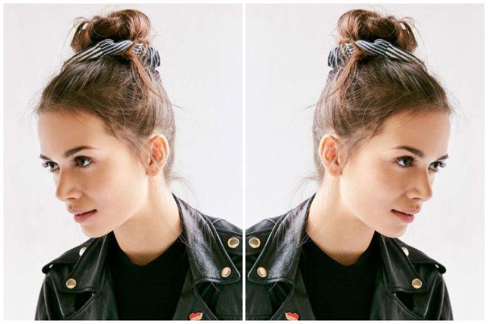 Gaya ikatan rambut  model Top Knot menggunakan scrunchie hair