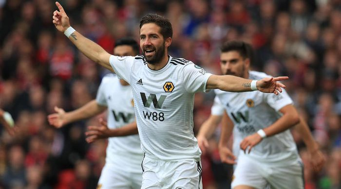 Wolverhampton Wanderers' Joao Moutinho celebrates scoring their first goal