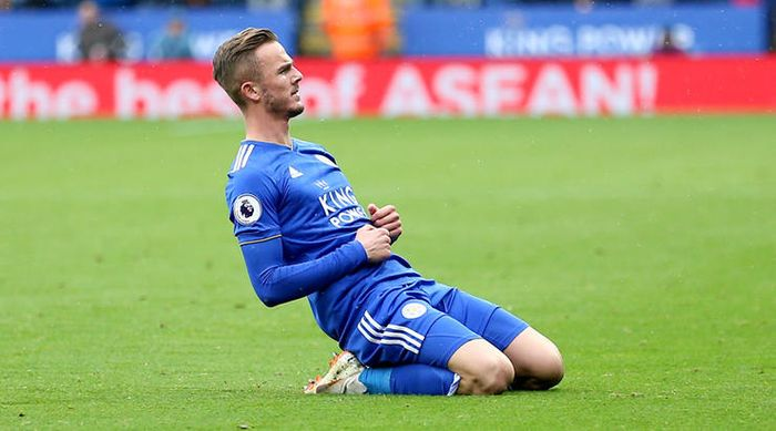 Leicester City's James Maddison celebrates scoring his side's second goal of the game during the Pre