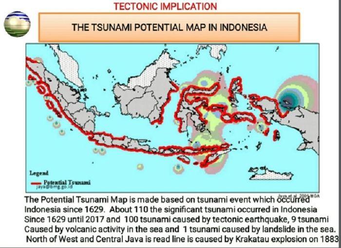 Peta wilayah rawan tsunami Indonesia (BMKG).