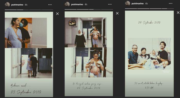 Hasil tangkap layar Instagram Story Putri Marino yang ceritakan proses melahirkan Surinala.