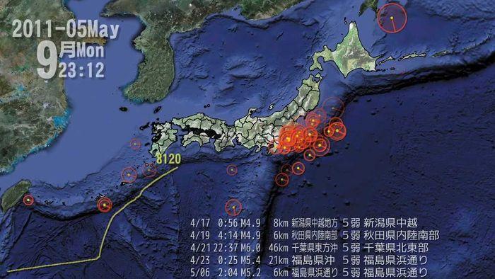 titik gempa saat gempa Tohoku 2011 di Jepang