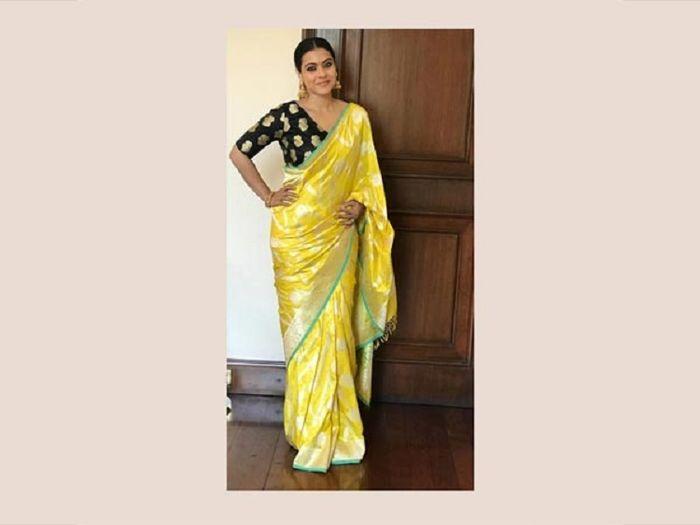 Berbalut Sari Tradisional India Bercorak Emas, Kecantikan Kajol Devgan Bak Dewi