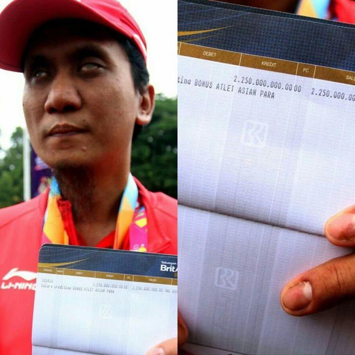 Kolase Hendi Wirawan saat menunjukkan bonusnya telah meraih 3 emas di Asian Para Games 2018