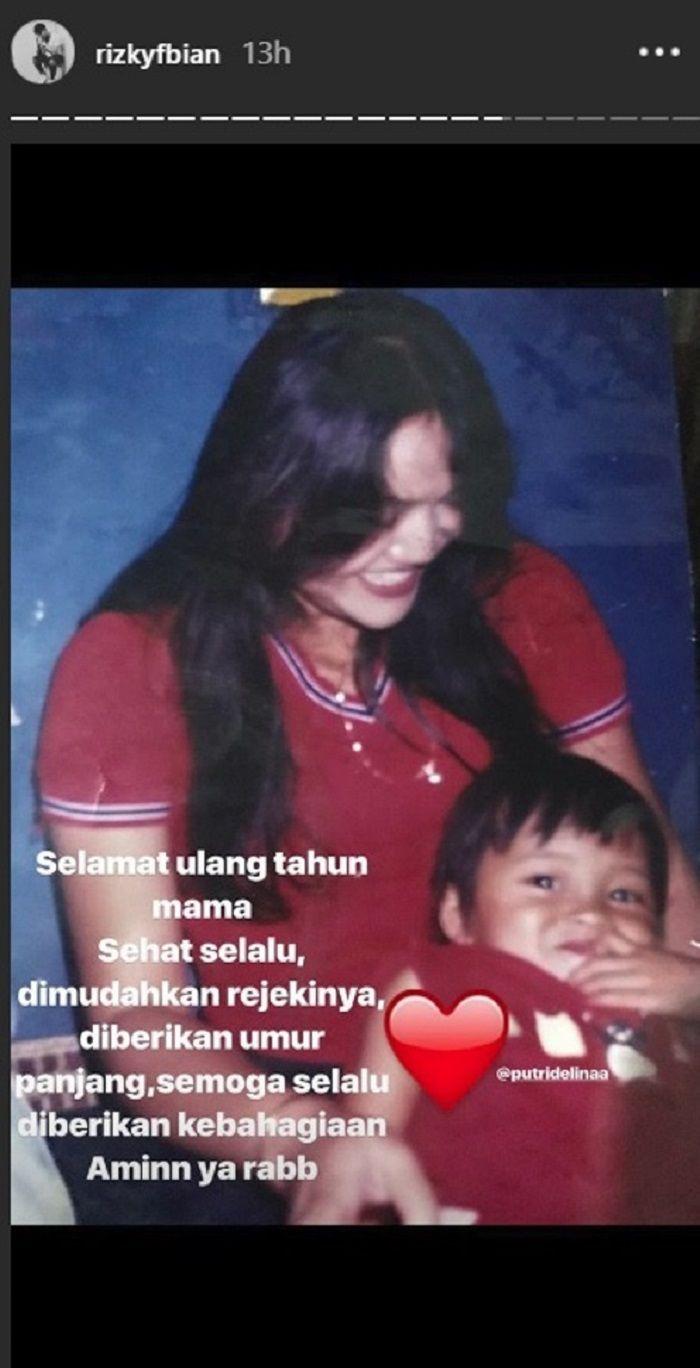 Rizky Febian unggah ucapan ulang tahun untuk ibunya, Lina
