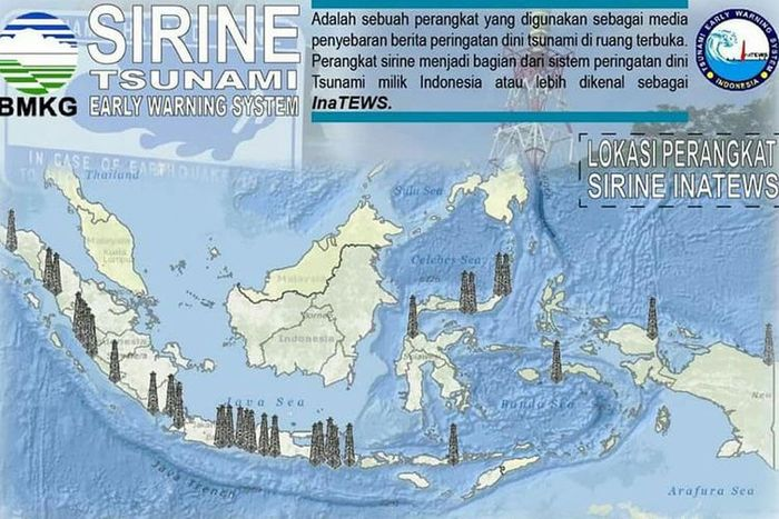 Peta sebaran sirine tsunami yang dipasang di 18 Provinsi di Indonesia. Daerah yang telah dipasang alat ini daerah yang pernah mengalami bencana gempa bumi dan tsunami.