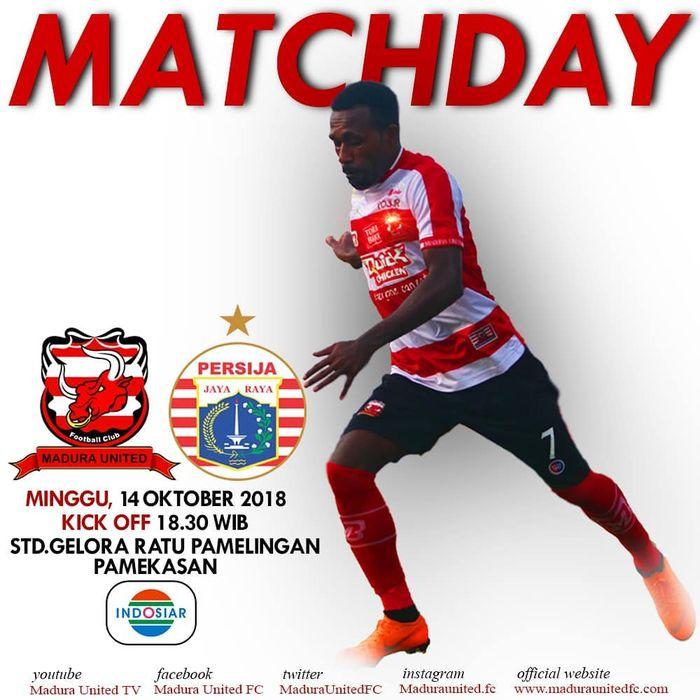 Laga lanjutan Liga 1 Indonesia, Madura United VS Persija Jakarta.