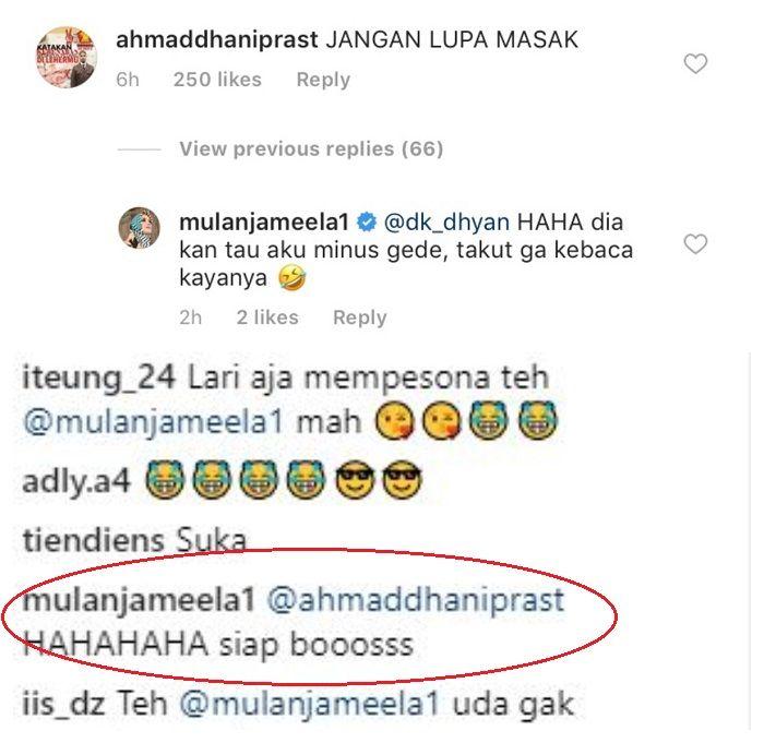 Mulan Jameela dan Ahmad Dhani berbalas komentar di Instagram
