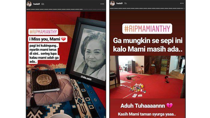 Unggahan story anak Indro Warkop, Hada, yang masih bingung selepas ditinggal sang ibunda pada Selasa (9/10/2018).