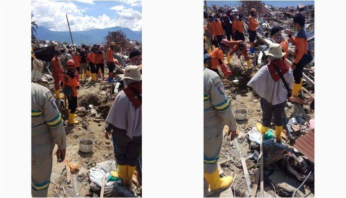 Tim relawan terpaksa mengubur jasad dengan baik dan benar karena tidak dapat dievakuasi