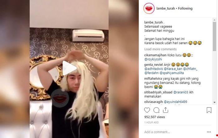 Video Roy Kiyoshi di akun gosip Instagram.