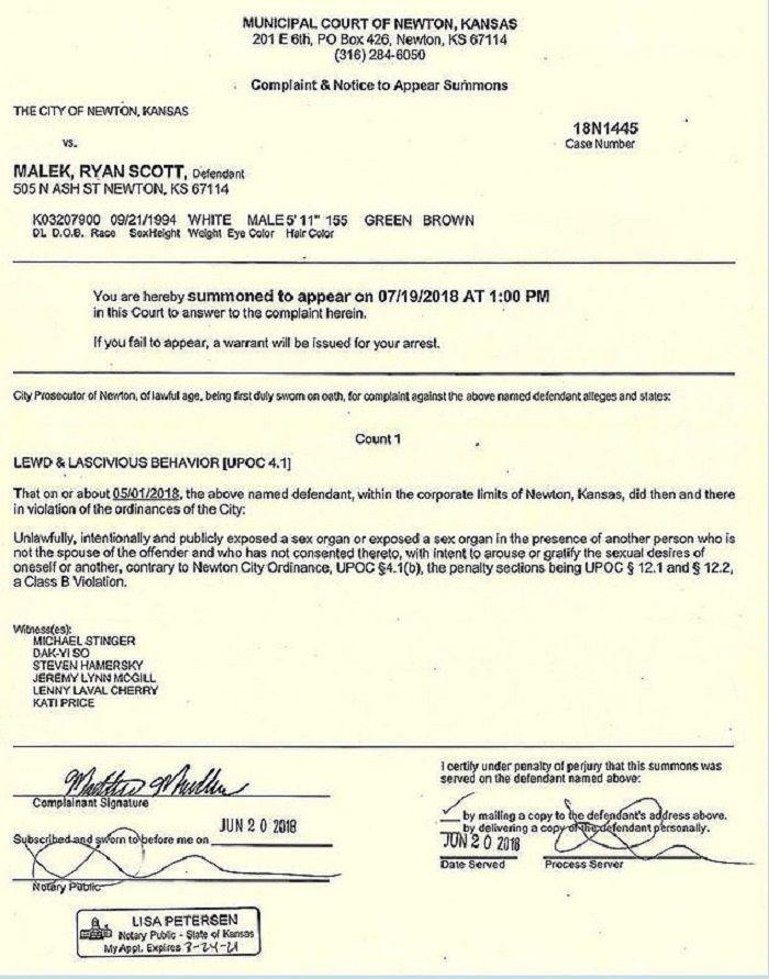 Surat hukuman untuk Malek dari kepolisian Newton, Kansas