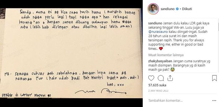 Sandiaga Uno Pamer Surat Cinta Berusia 28 Tahun Saat Ldr