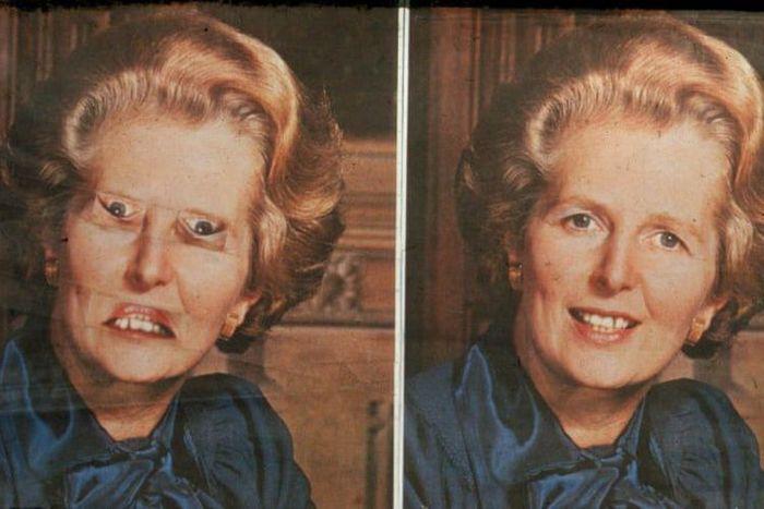 Foto Thatcher yang sudah dimodifikasi (kiri), foto Thatcher yang sebenarnya (kanan).(