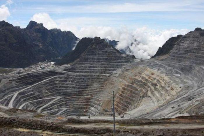 Zona minera a cielo abierto de PT Freeport Indonesia en Grosberg, Timika, Papua.