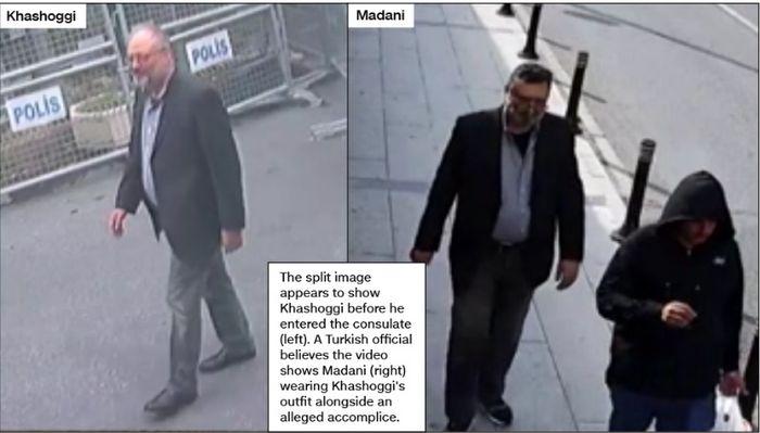 Perbandingan setelah Madani memakai atribut untuk menduplikat Khashoggi