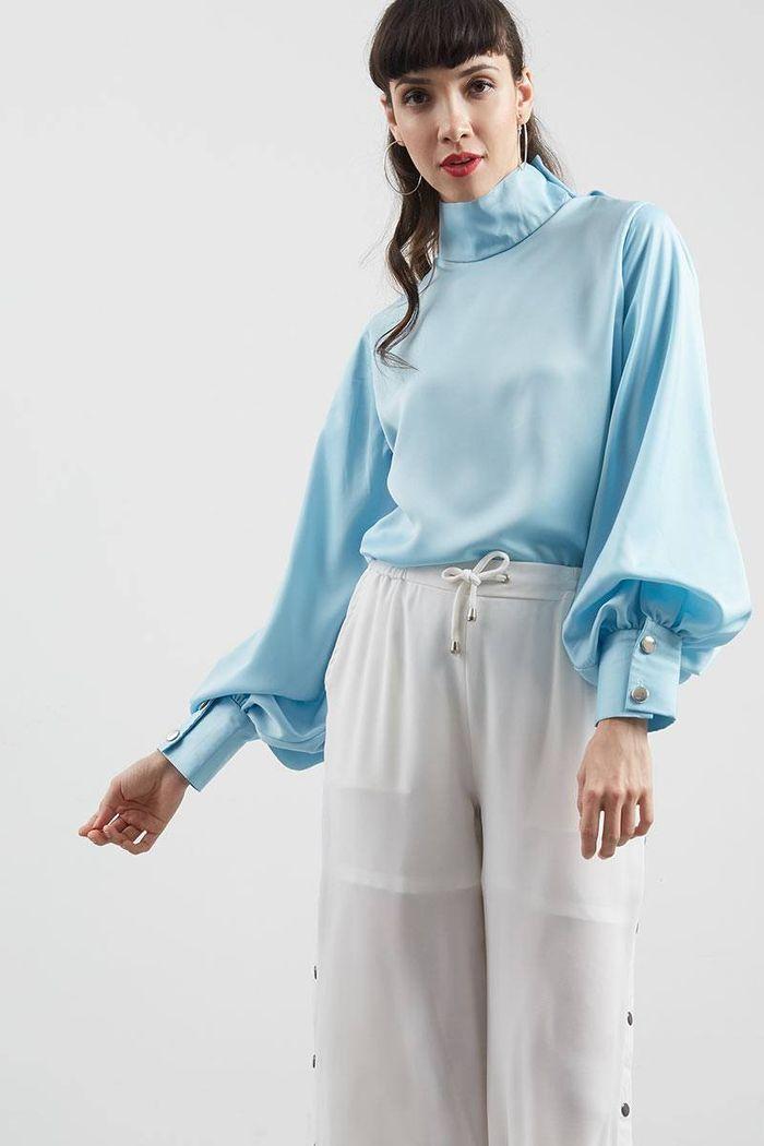 Bella Puff Sleeve Blouse Blue
