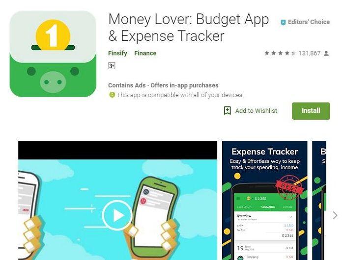 Aplikasi pengatur keuangan Money Lover di Google Play Store