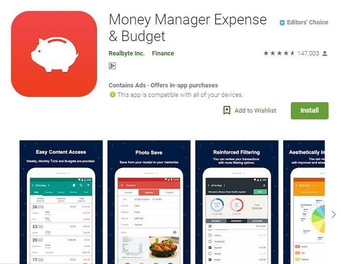 Aplikasi pengatur keuangan Money Manage Expense & Budget di Google Play Store