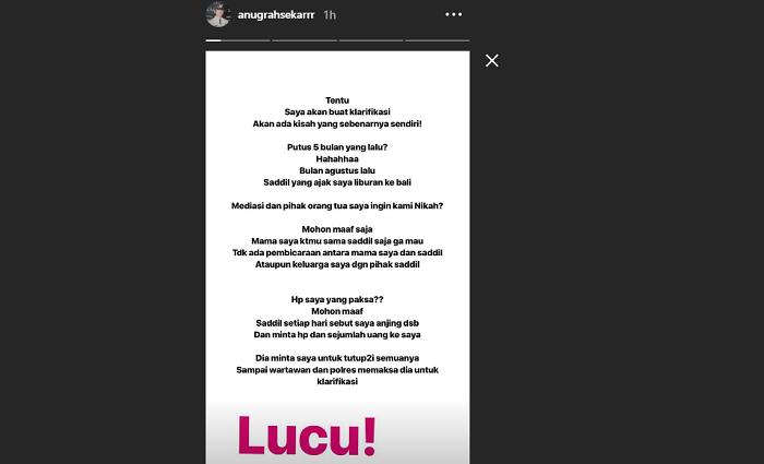 Instastory Anurgah Sekar Rukmi.
