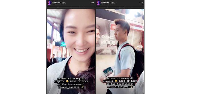 Unggahan story Karen Vendela saat bertemu Kevin Sanjaya di bandara pada Minggu (4/11/2018)