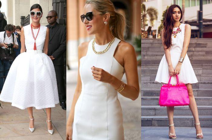 Padukan dress putih dn kalung agar penapilan nggak monoton