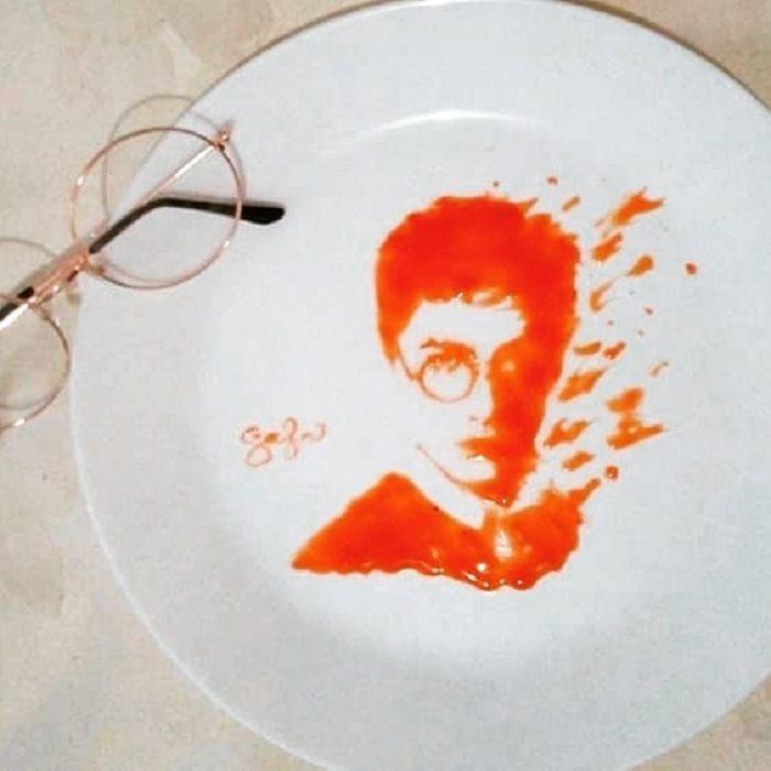 Karya seni dari saus tomat