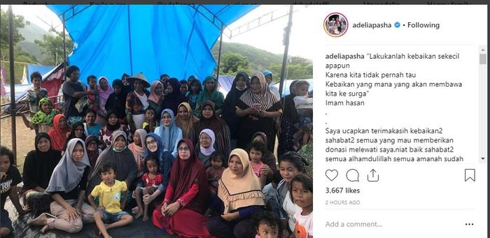 Ungkapan terima kasih Adelia Pasha kepada penyumbang bencana Palu dan Donggala