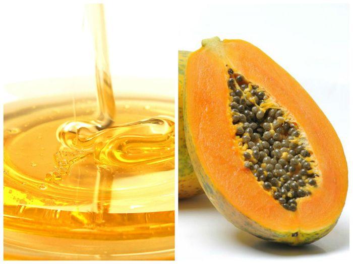 Pepaya dan madu untuk obat jerawat.