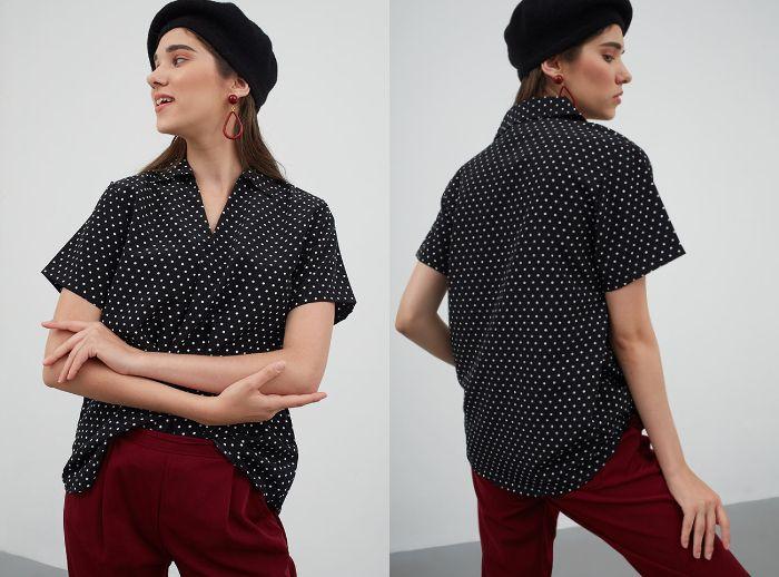 Vancy polkadot basic shirt black