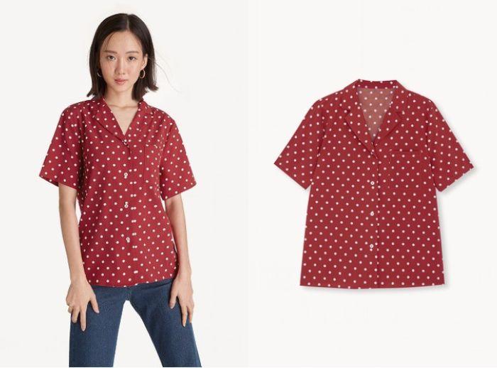 Polka Dot Notched Collar Shirt - Red