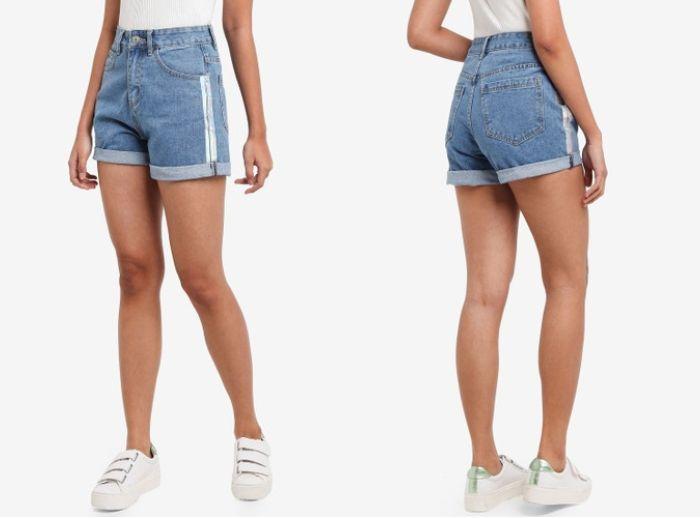 Cuffed Denim Mom Shorts