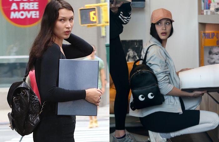 Bella Hadid dengan mini backpack hitam