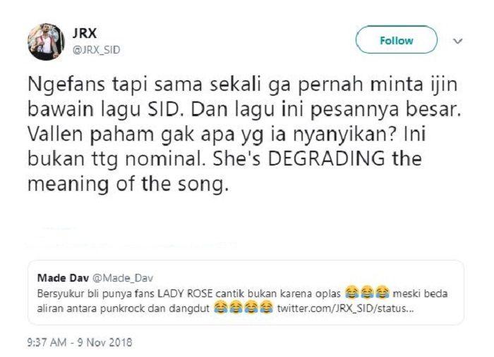Teguran Jerinx SID karena Via Vallen cover lagu Sunset di Tanah Anarki tanpa izin