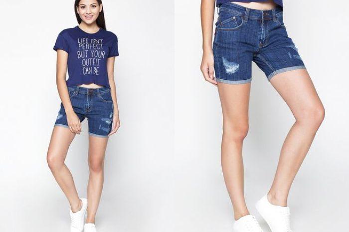 2Nd Red Celana Pendek Jeans  Ripped Denim Shorts Biru 261622