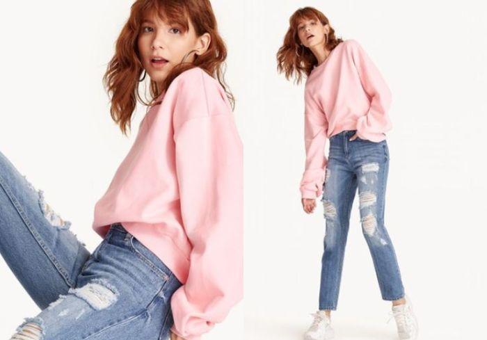 Pomelo Laurie Oversized Fleece Sweater - Pink
