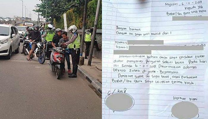 Surat wali murid gegara Operasi Zebra 2018 di Bojonegoro, Jawa Timur