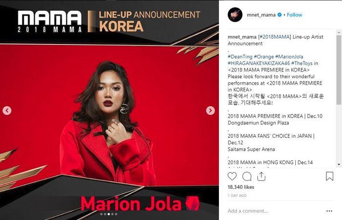 Marion Jola jadi Line Up Mnet Mama 2018