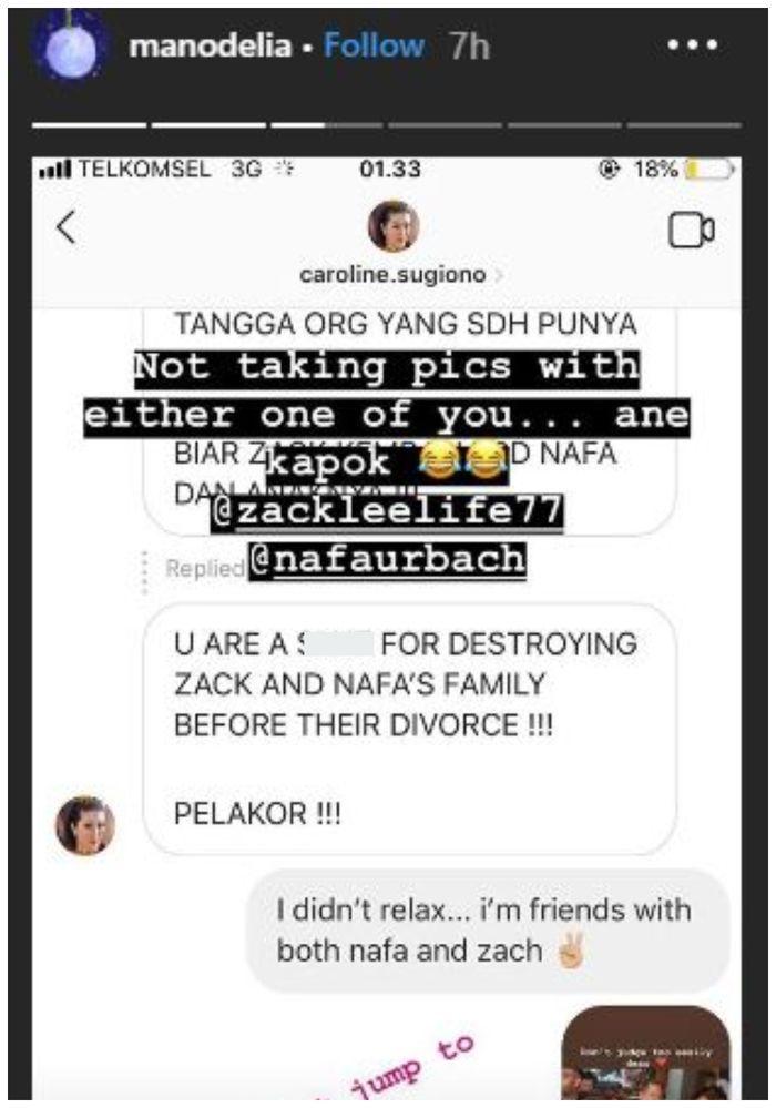 Manohara posting sebuah dm yang menuduhnya pelakor