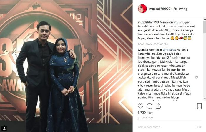 This is Muzdalifah's upload on Instagram social media, when she fell in love with a young man 15 years younger than her.
