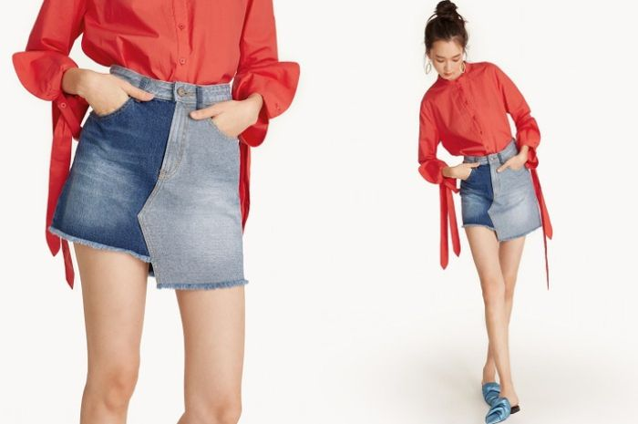 Pomelo -Mini Asymmetric Two-Toned Denim Skirt