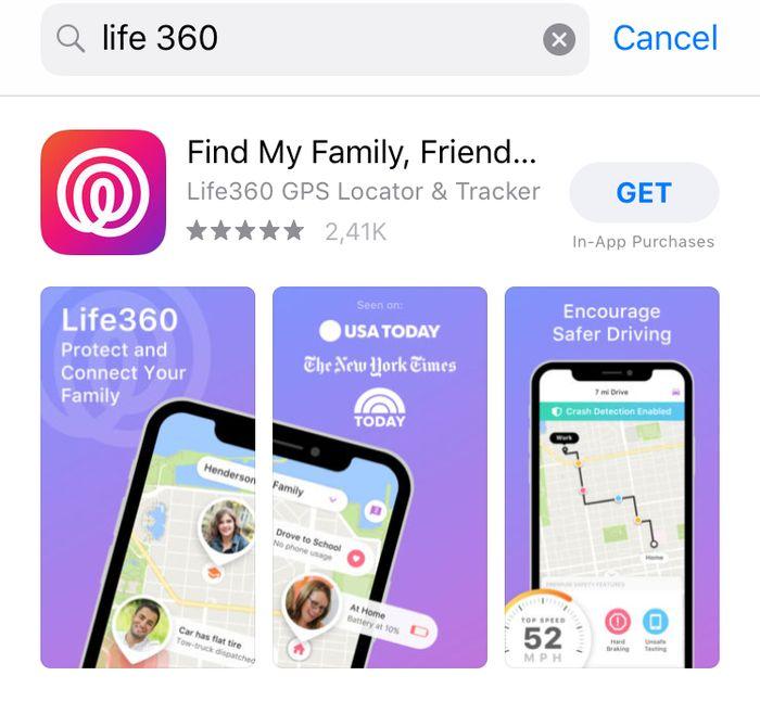 Aplikasi Life 360.