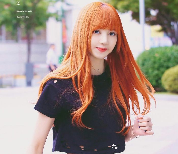 Warna rambut Lisa Blackpink - Orange